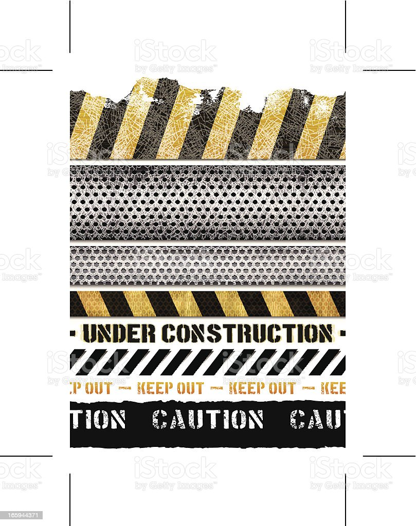 seamless construction banners vector art illustration