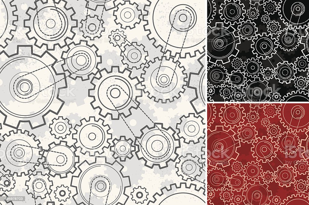 Seamless grunge gears background vector art illustration