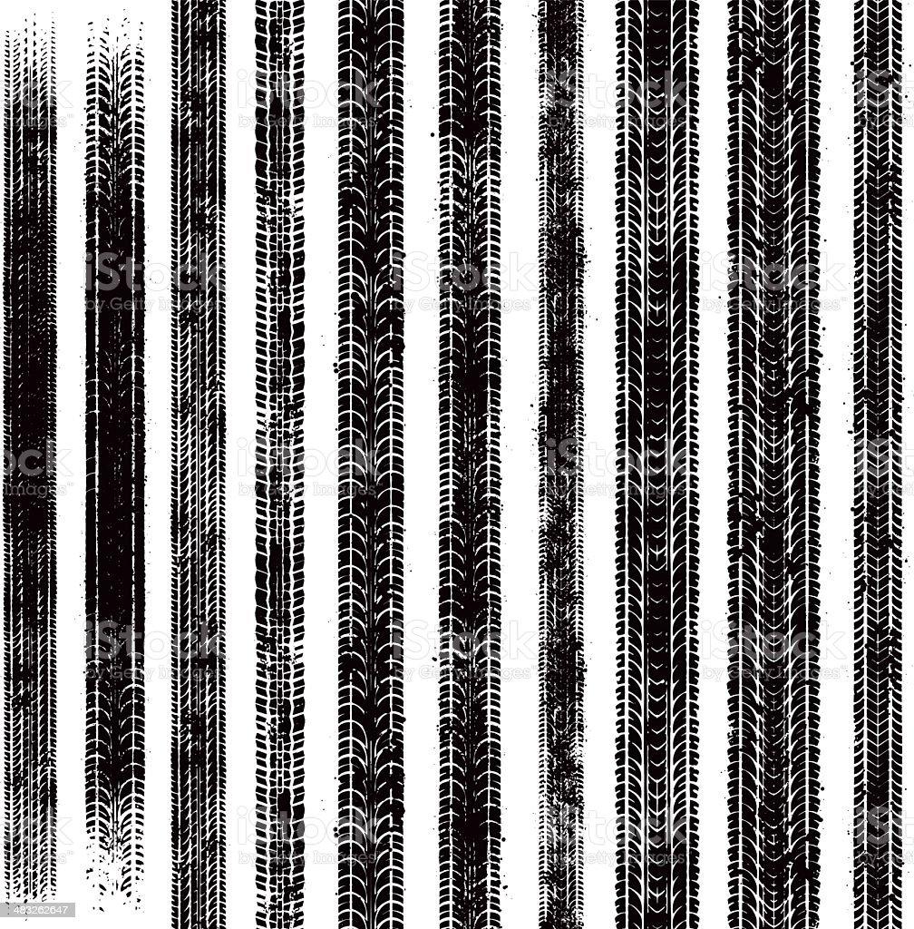 Seamless grunge tyre tracks vector art illustration