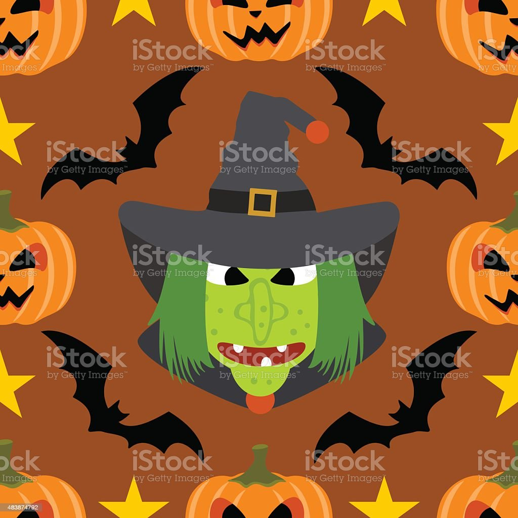 Seamless  halloween background with Witch vector art illustration