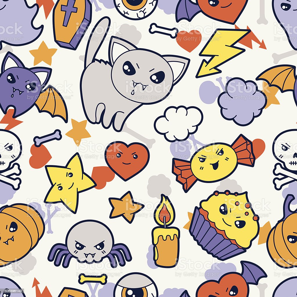 Seamless halloween kawaii pattern with cute doodles. royalty-free stock vector art