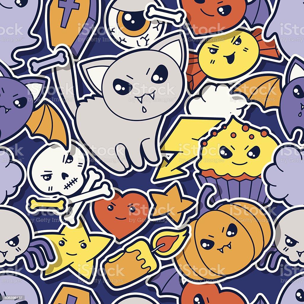 Seamless halloween kawaii pattern with sticker cute doodles. royalty-free stock vector art