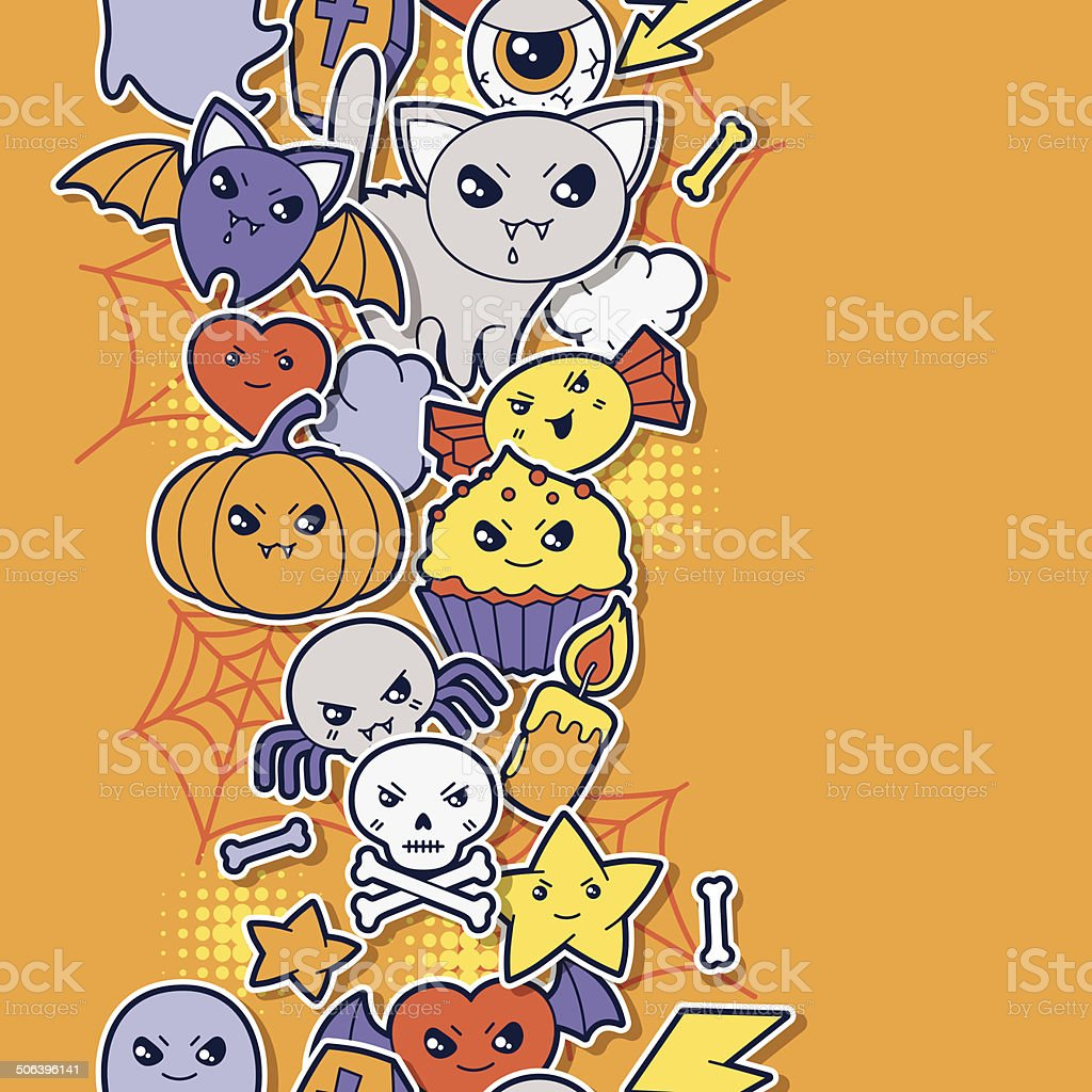 Seamless halloween kawaii pattern with sticker cute doodles. royalty-free stock vector art