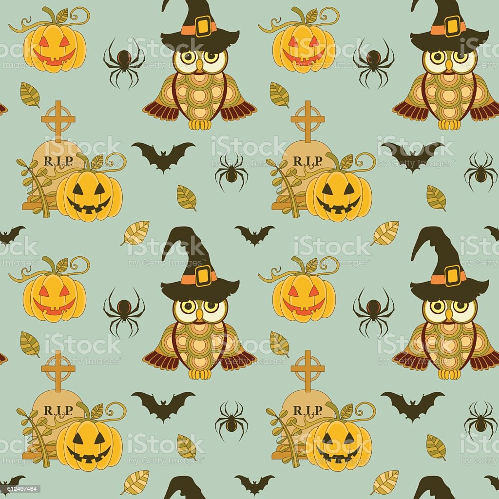 Seamless halloween pattern with pumpkin and owls on turquoise background vector art illustration
