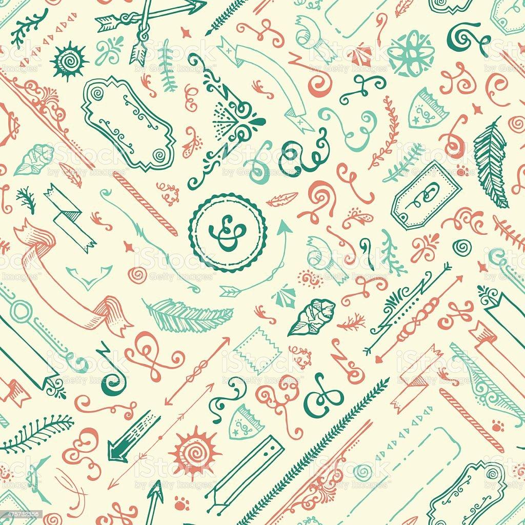 Seamless Hand Drawn Doodle Pattern vector art illustration
