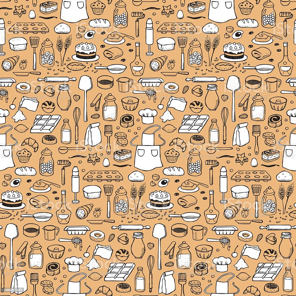 Seamless hand drawn doodle pattern with bakery elements vector art illustration