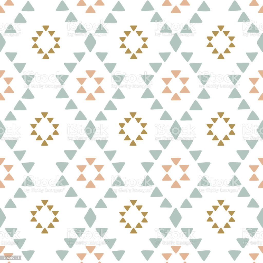 Seamless hand drawn geometric tribal pattern with rhombuses and triangles vector art illustration