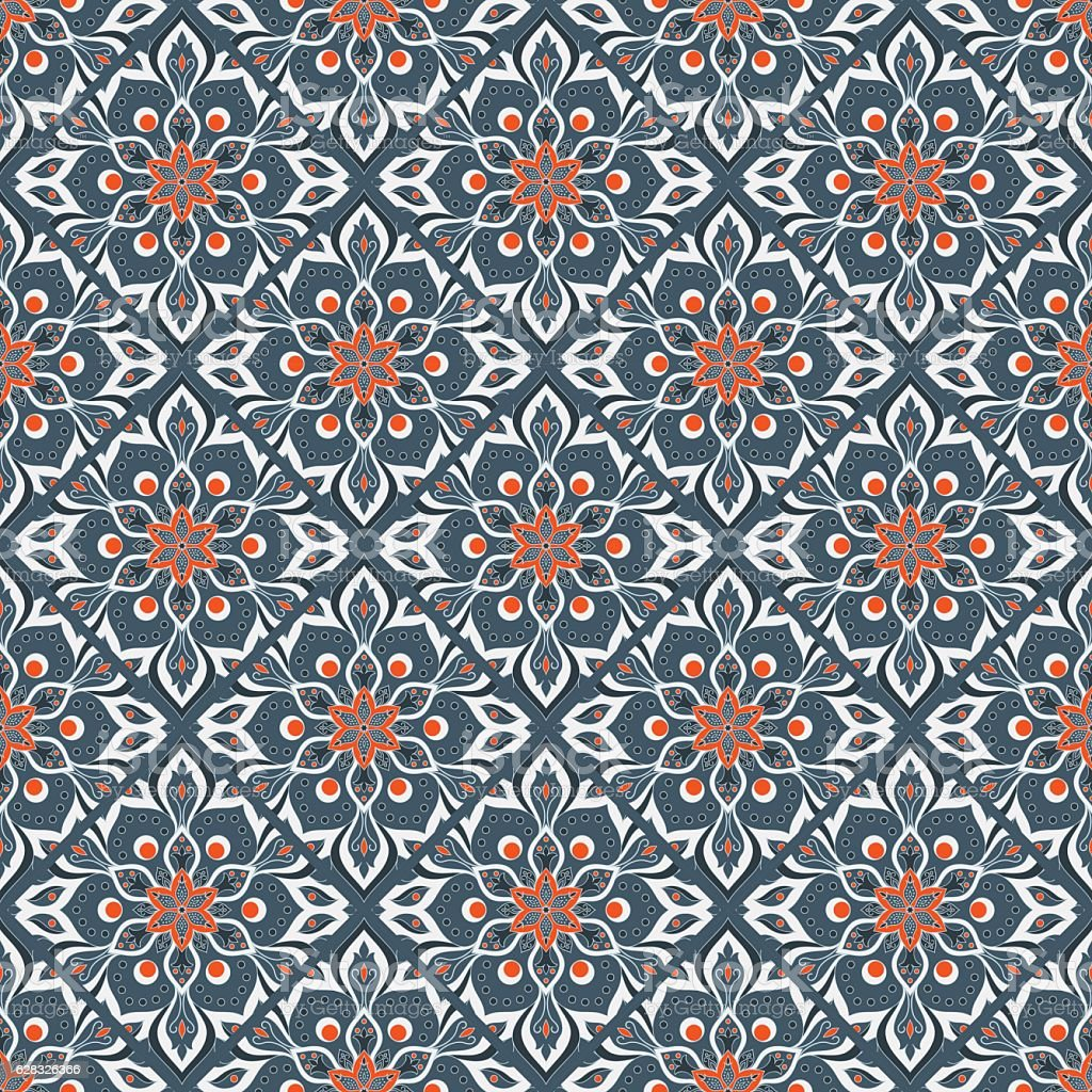 Seamless hand drawn mandala pattern. vector art illustration