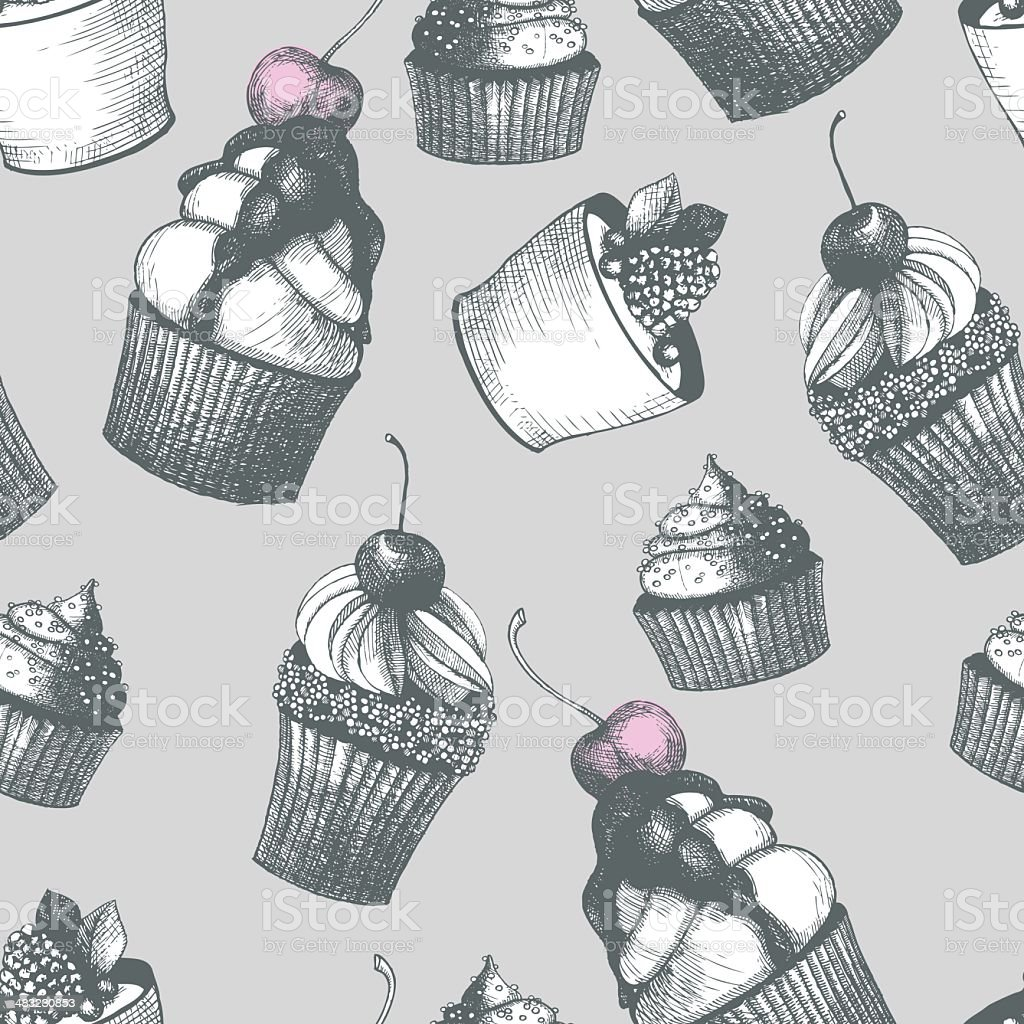 Seamless Hand drawn pattern with cupcakes. royalty-free stock vector art