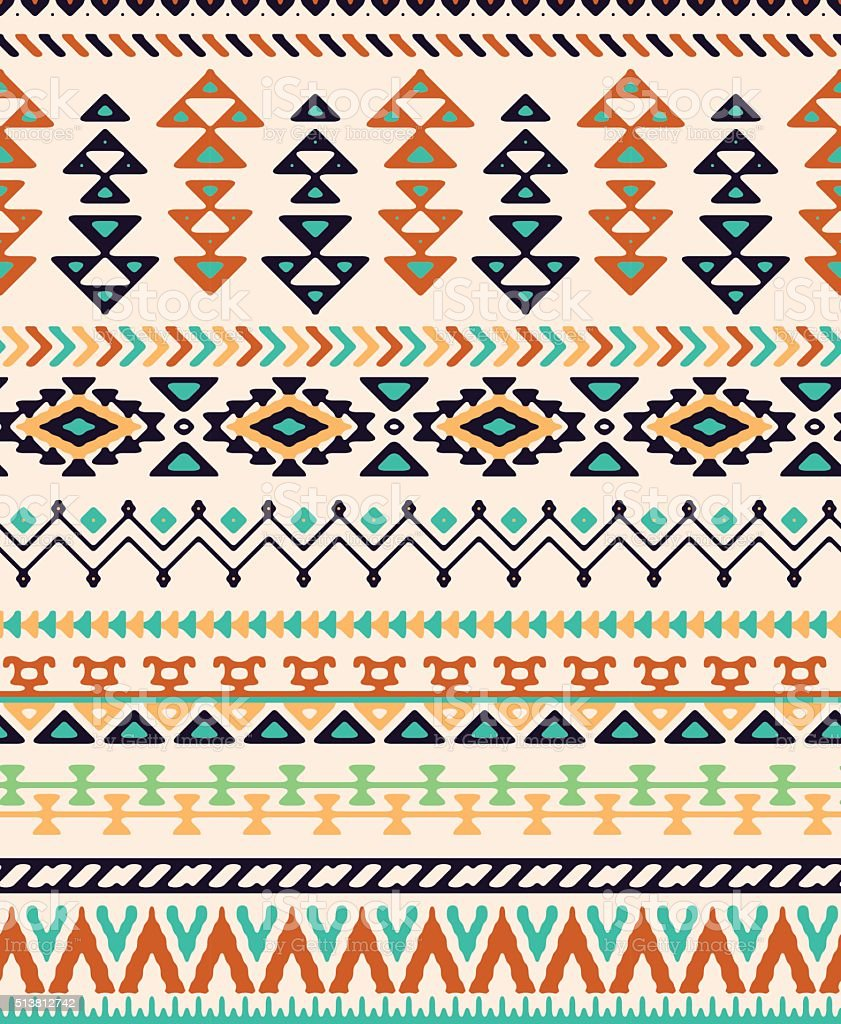 Seamless hand drawn stripes pattern with ethnic and tribal ornament. vector art illustration