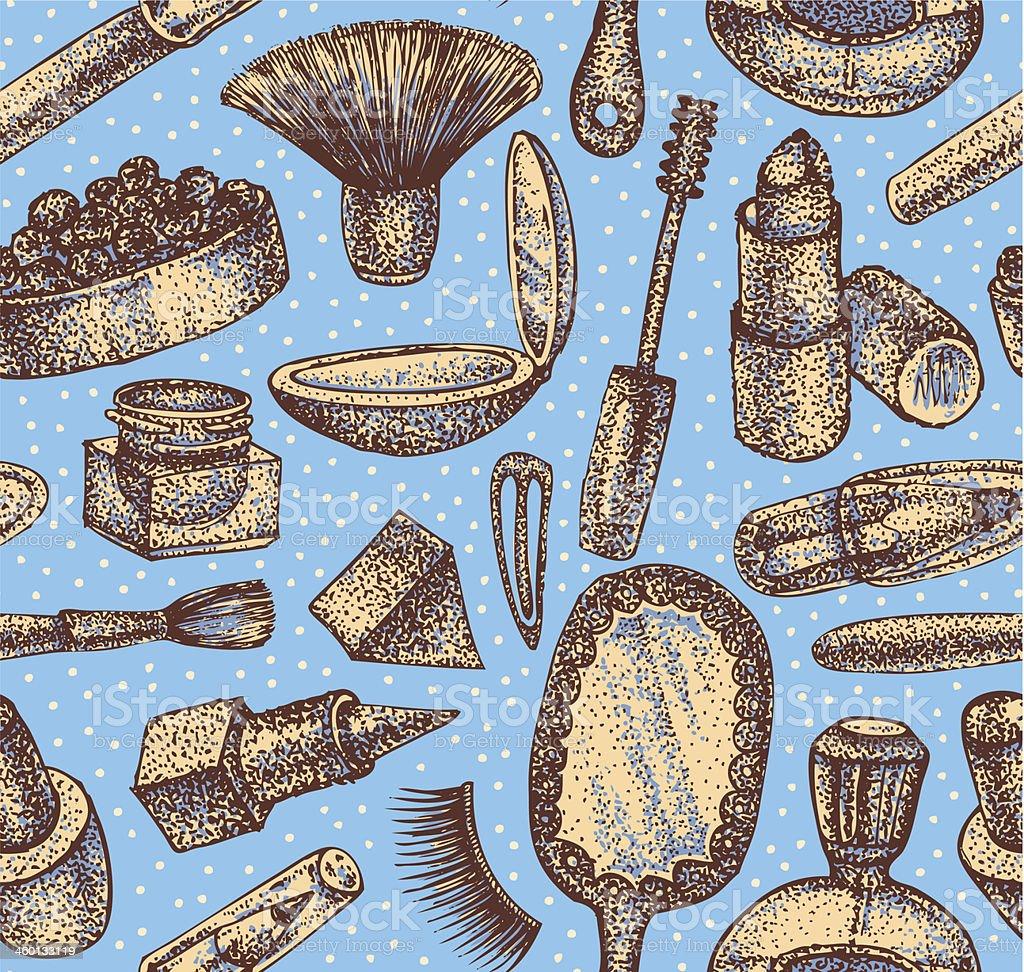 Seamless hand drawn texture of make up stuff. vector art illustration