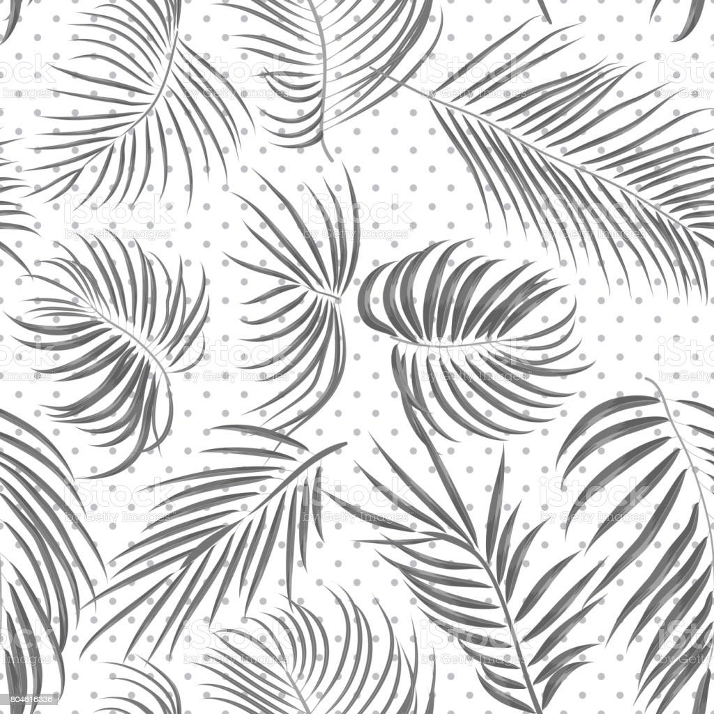 Line Drawing Jungle : Seamless hand drawn tropical pattern with areca leaves