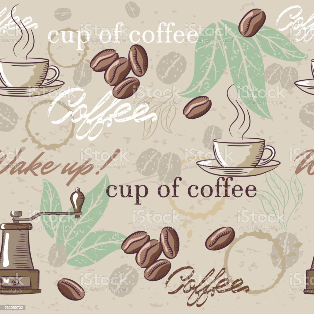 Seamless hand drawn vintage coffee pattern. Vector illustration vector art illustration