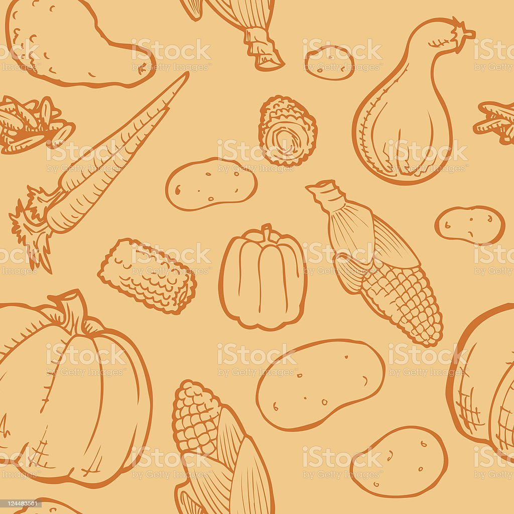 Seamless Harvest Background with fresh produce vector art illustration