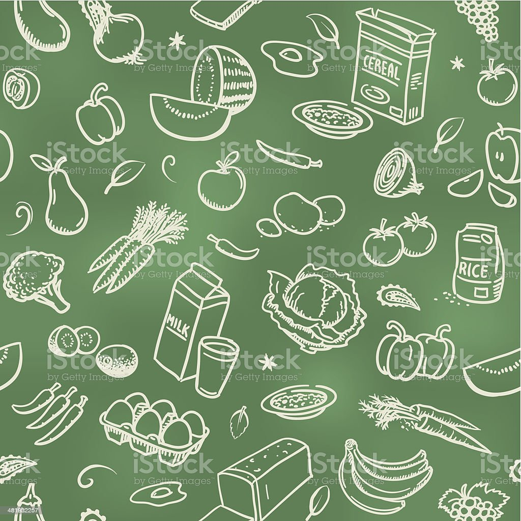 Seamless healthy food background vector art illustration