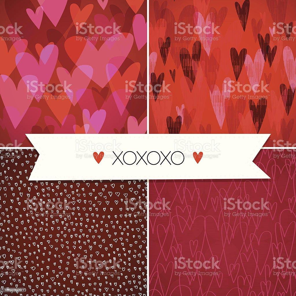Seamless Hearts Pattern Set. EPS10 royalty-free stock vector art