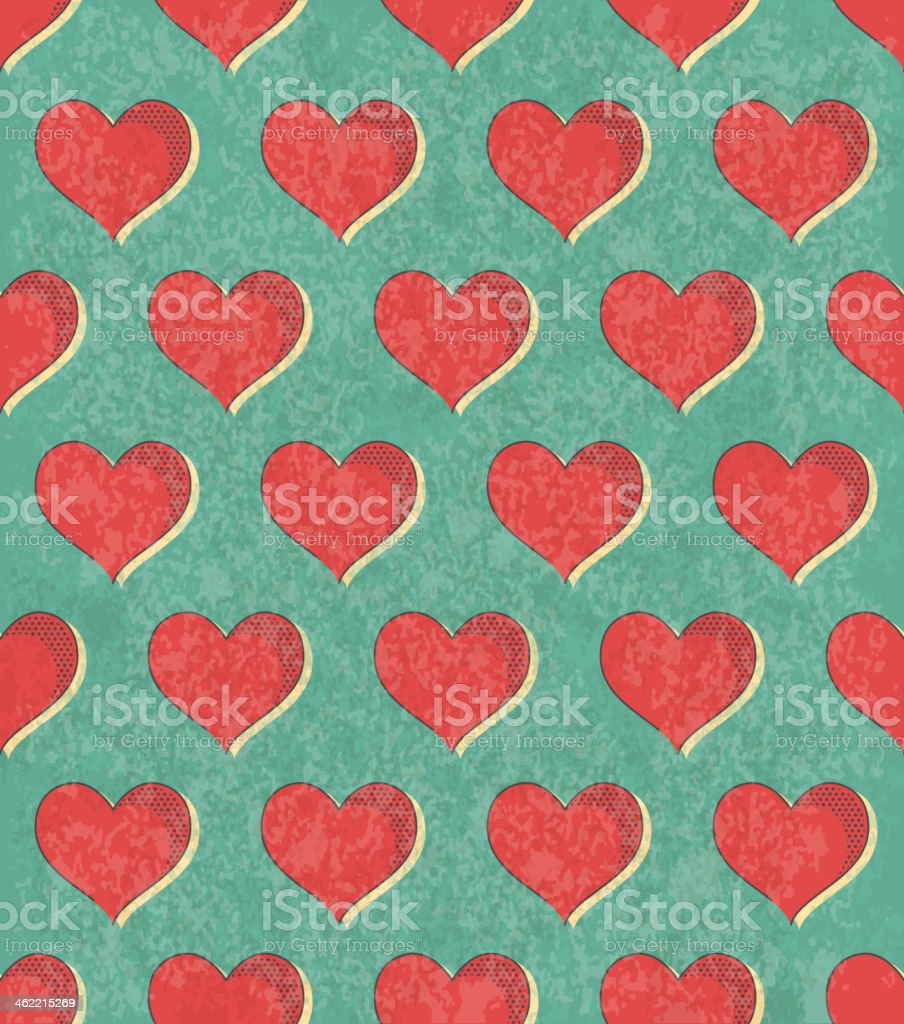 Seamless hearts vector art illustration