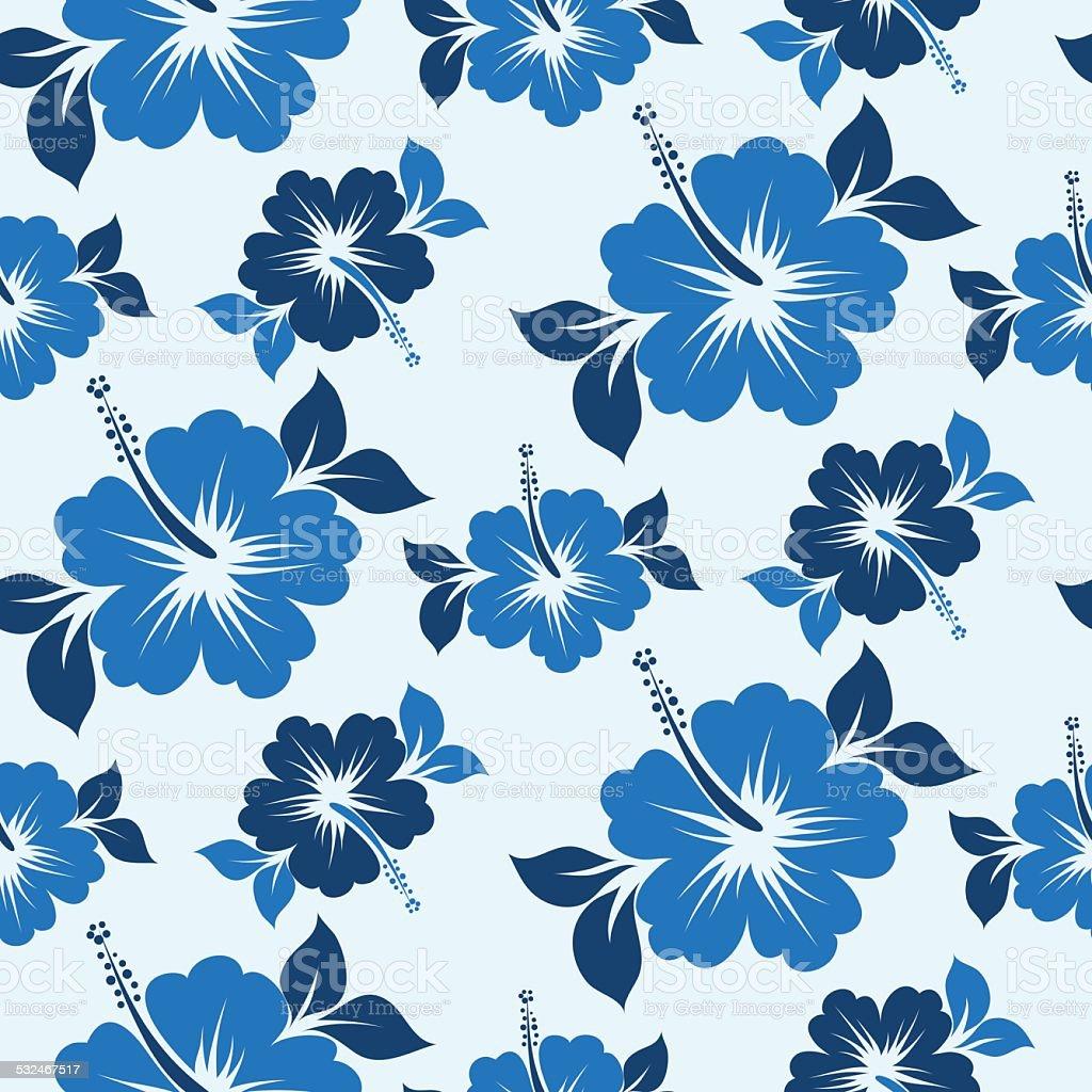 Seamless hibiscus pattern vector art illustration