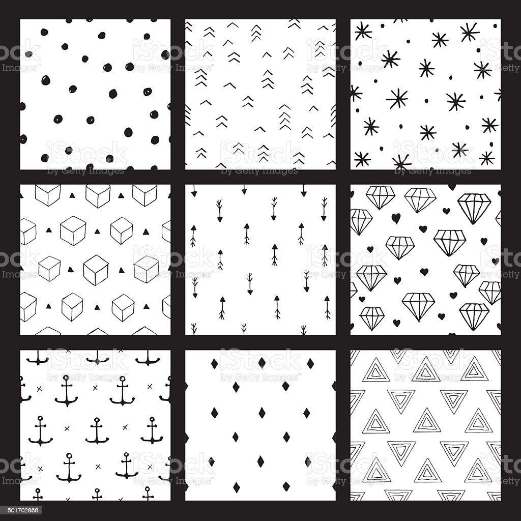 Seamless hipster pattern set vector art illustration