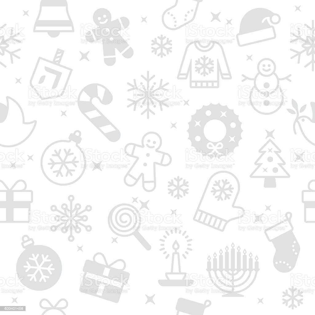 Seamless Holiday Symbols and Icons Background vector art illustration