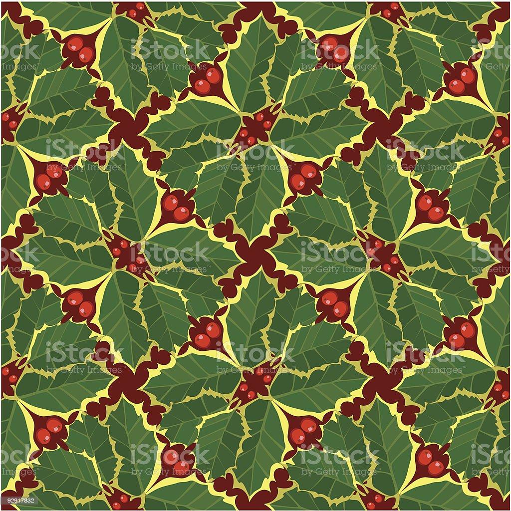 Seamless holly wallpaper pattern (vector & jpeg) vector art illustration