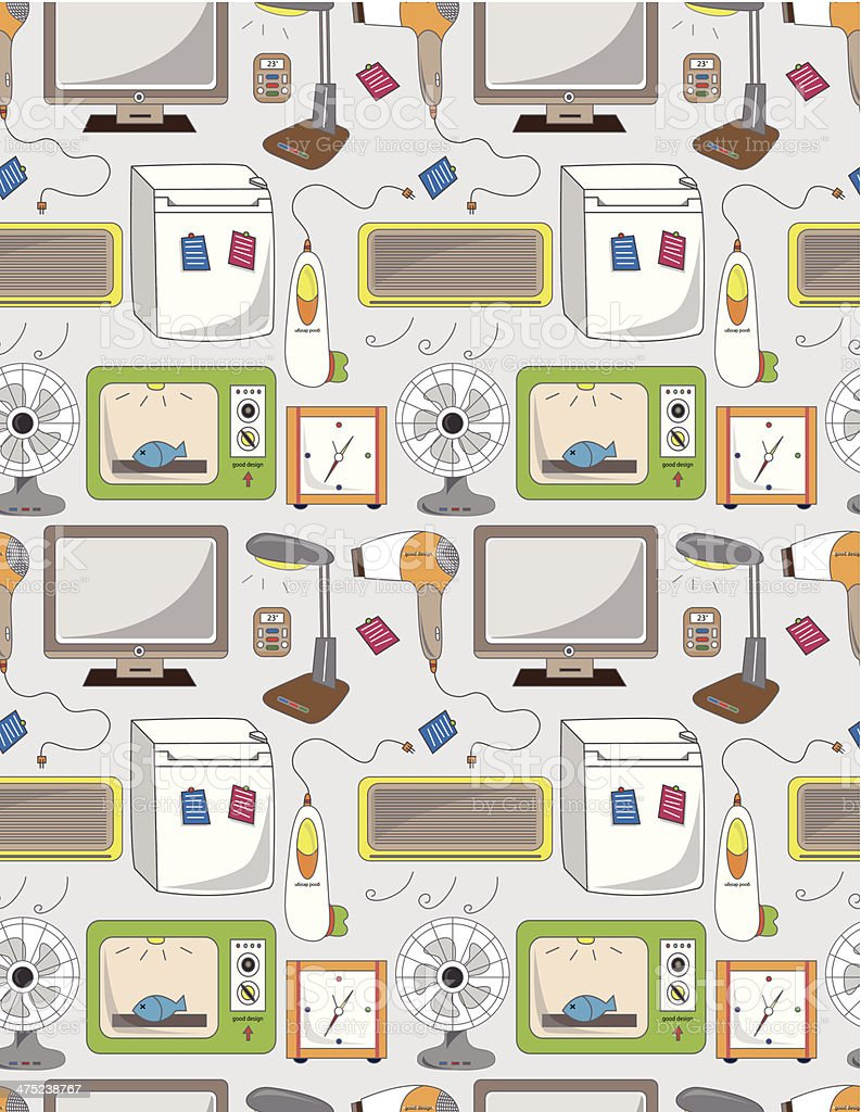 seamless home appliance pattern royalty-free stock vector art