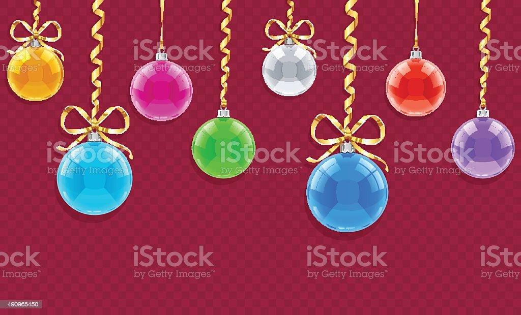 Poziome bez szwu wzór Kartka świąteczna z piłki i wstążki stockowa ilustracja wektorowa royalty-free