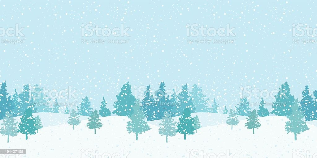 Seamless horizontal winter pattern vector art illustration