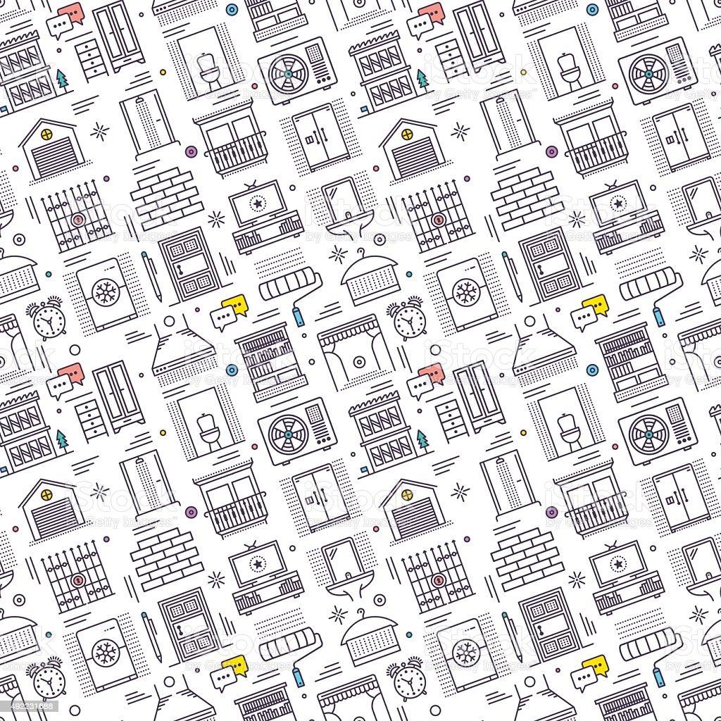 Seamless Housework Pattern vector art illustration