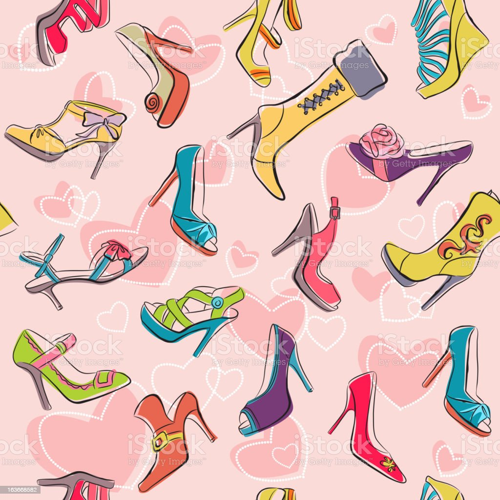 Seamless 'I Love Shoes' Pattern royalty-free stock vector art