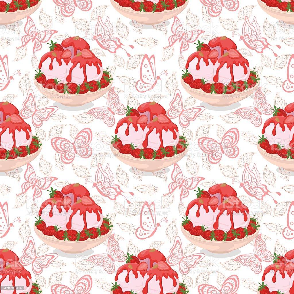 Seamless, Ice Cream, Strawberries and Butterflies vector art illustration