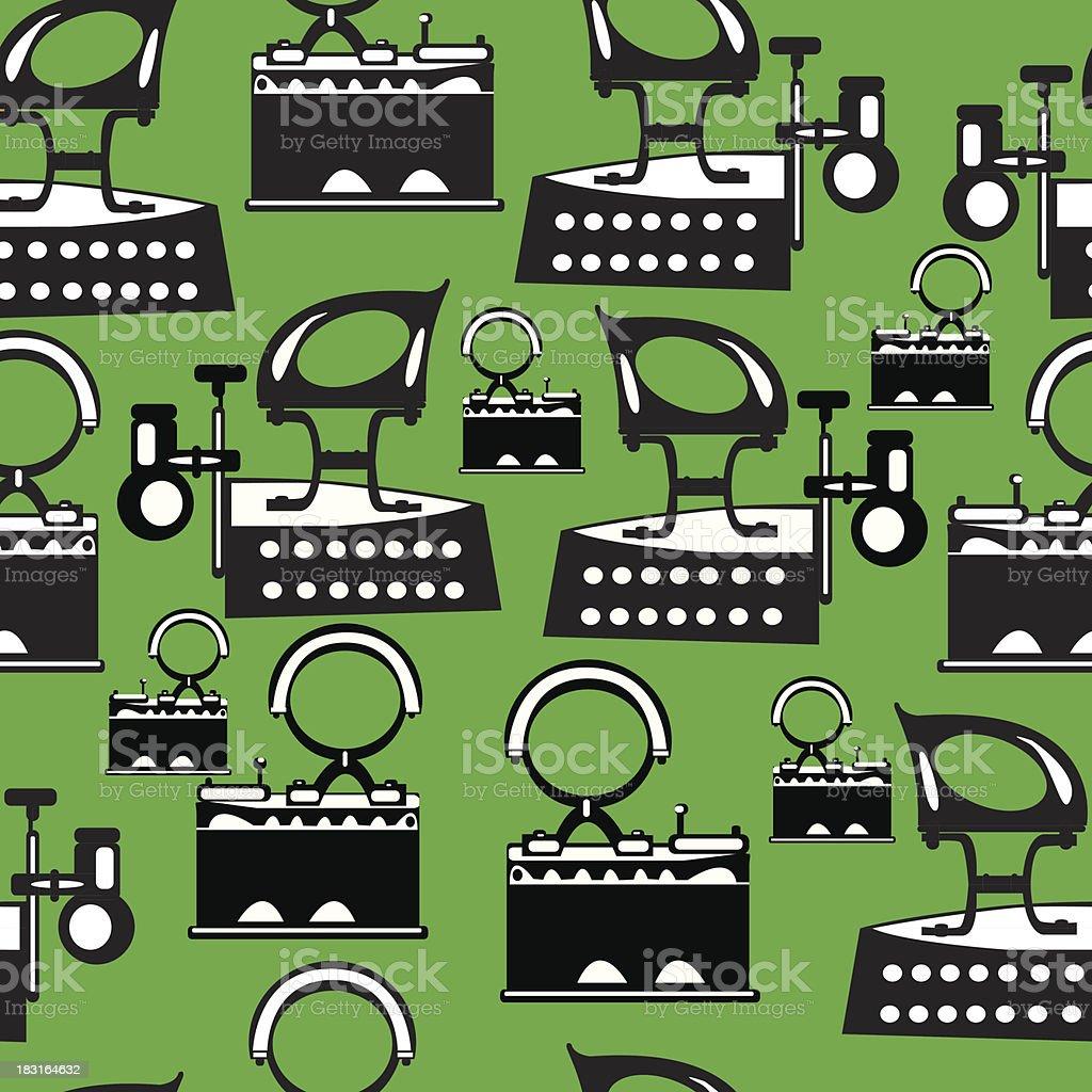 seamless illustration retro iron on green background royalty-free stock vector art