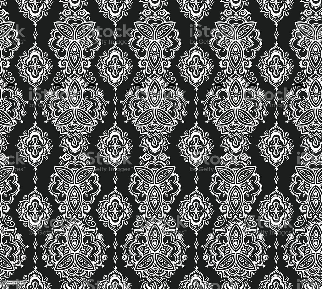 Seamless indian pattern based on traditional Asian floral elements Paisley. vector art illustration