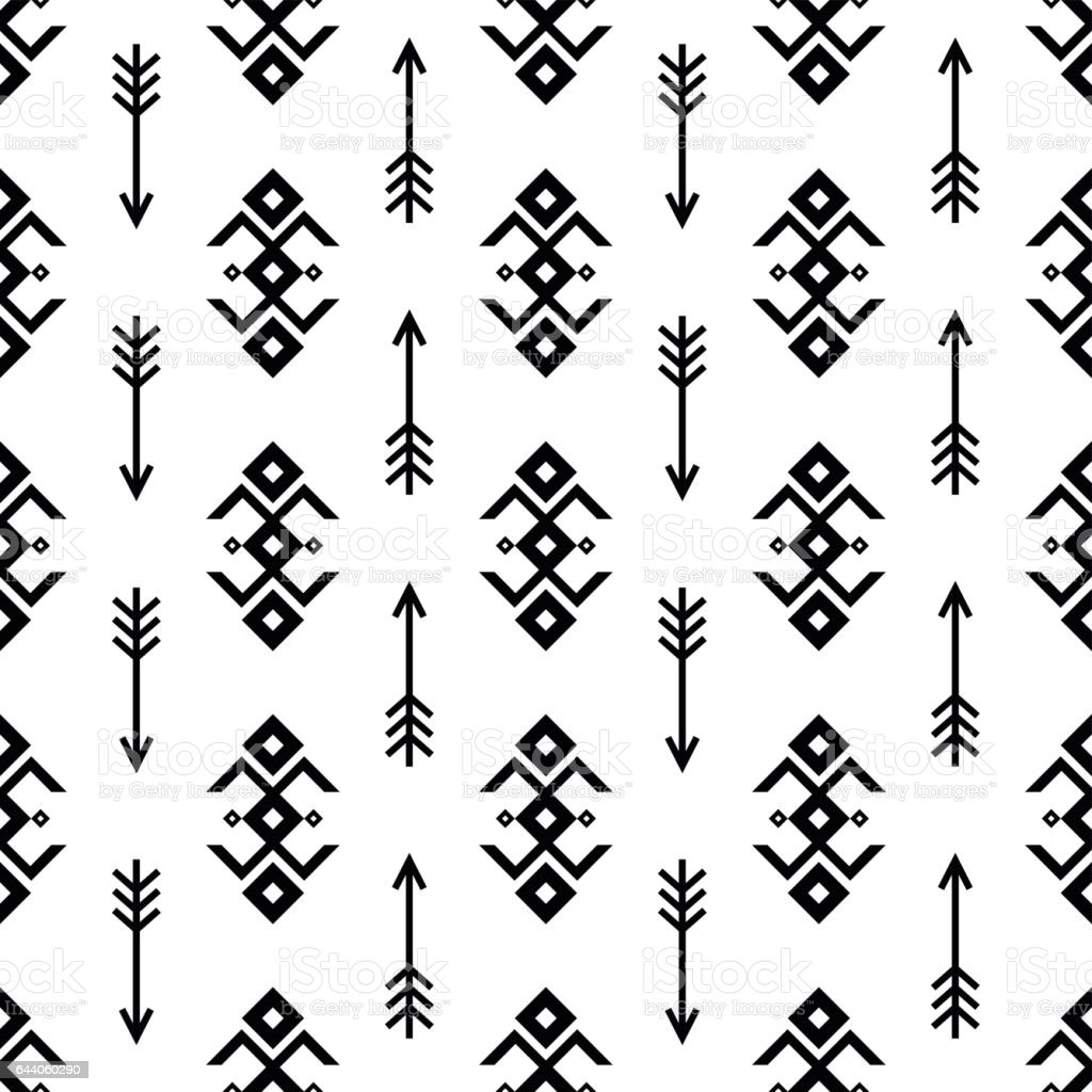 Native american ornaments - Seamless Indian Pattern Vector Arrows And Usa Native American Type Geometric Ornaments Black And White Background