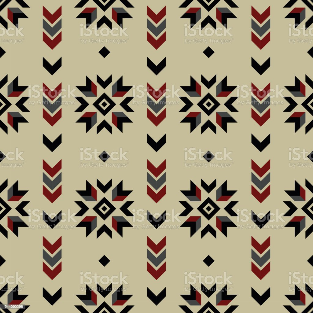 Native american ornaments - Seamless Indian Pattern Vector Arrows And Usa Native American Type Geometric Ornaments Background Design Retro Vintage