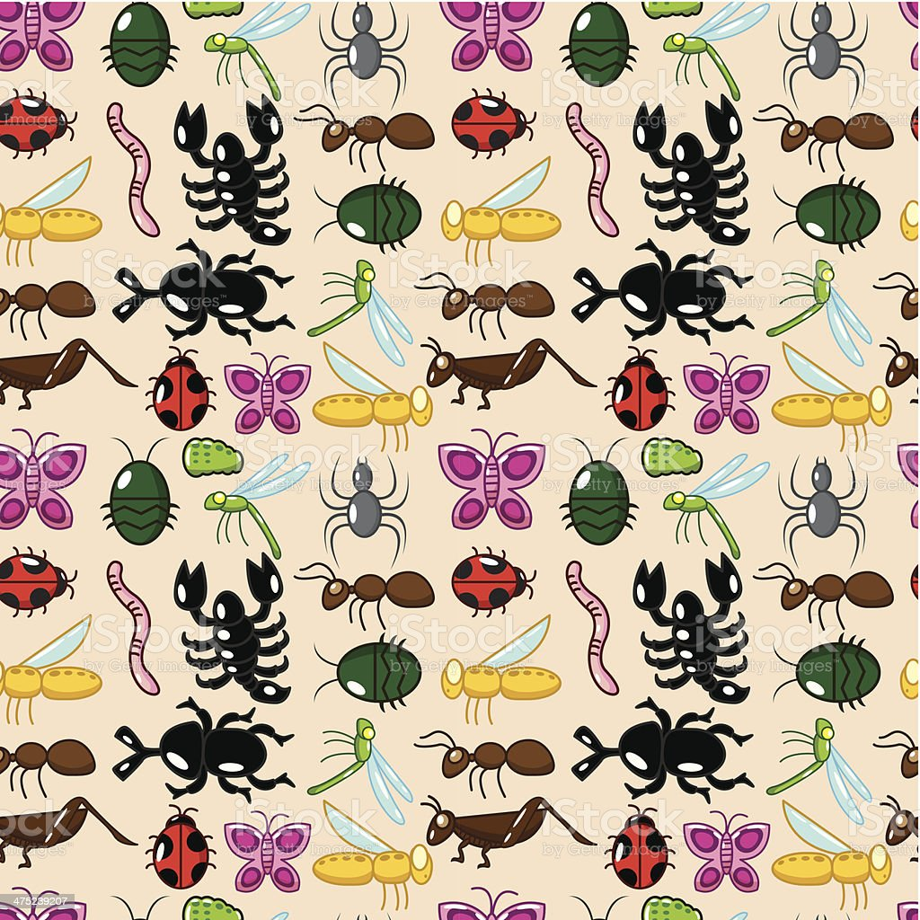 seamless insect pattern royalty-free stock vector art
