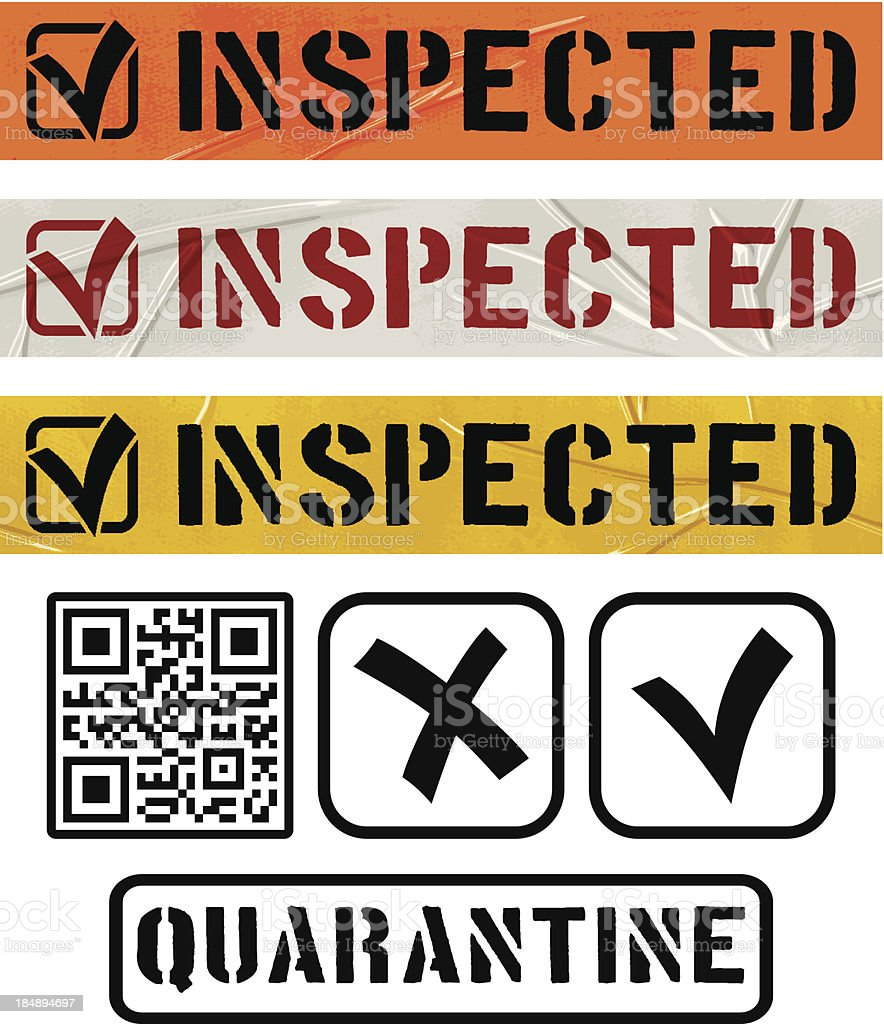 seamless inspected duct tape banners royalty-free stock vector art