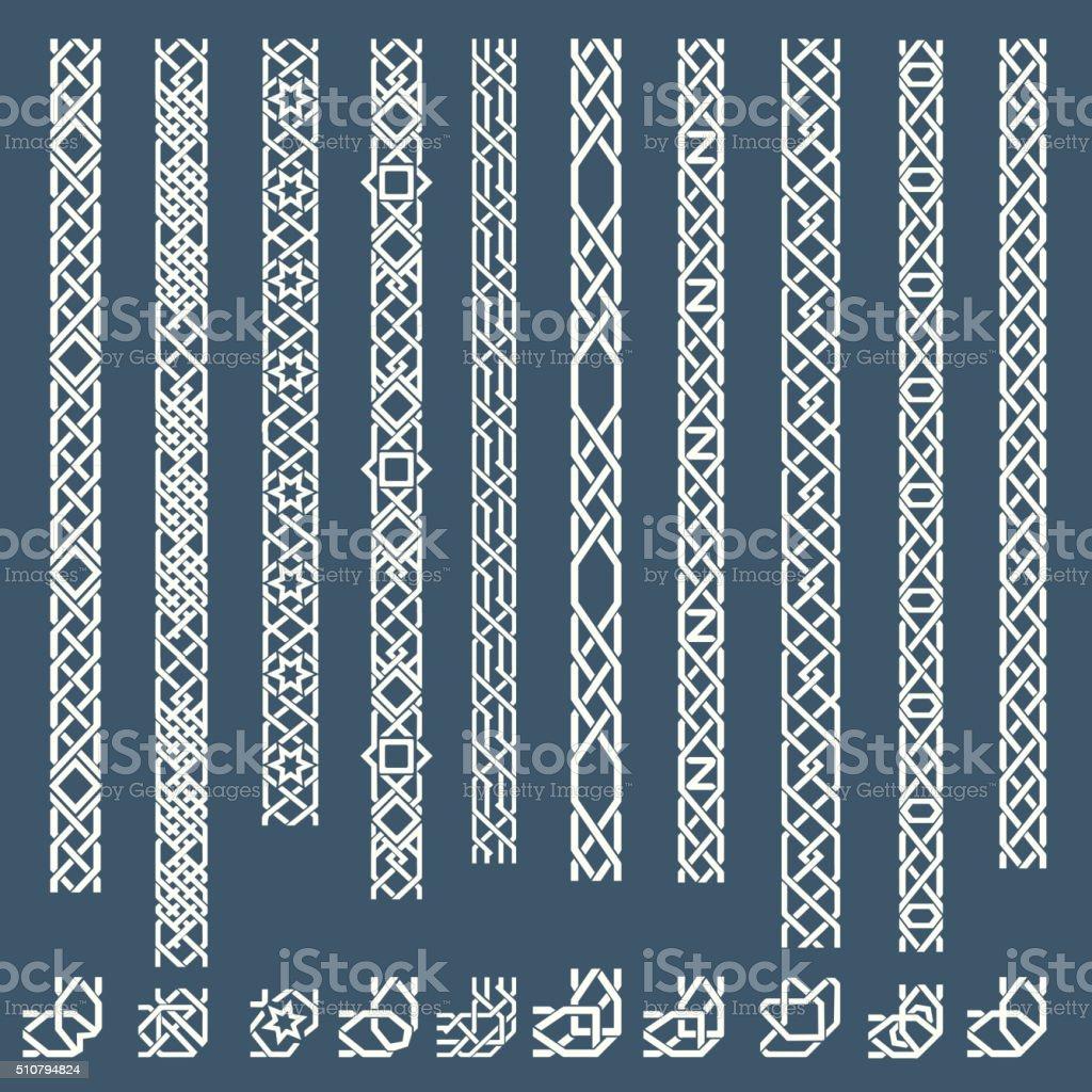 Seamless islamic ornamental borders vector art illustration