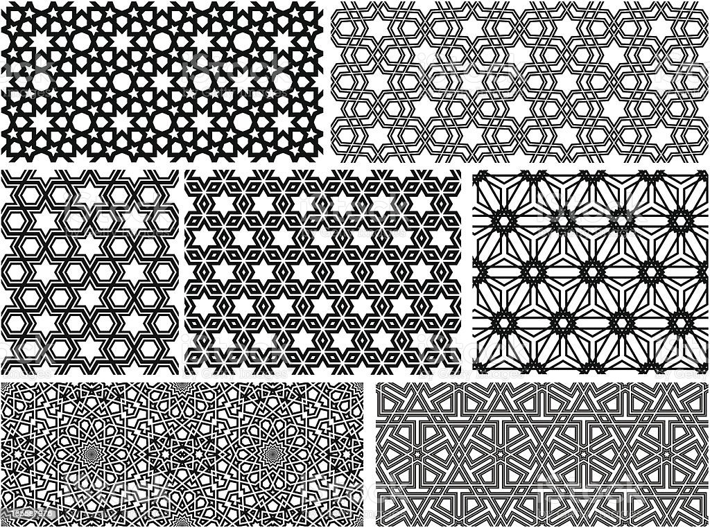 Seamless Islamic patterns II vector art illustration