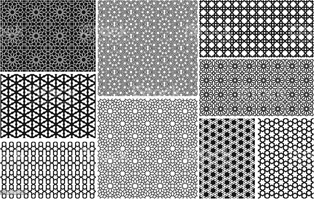 Seamless Islamic patterns vector art illustration