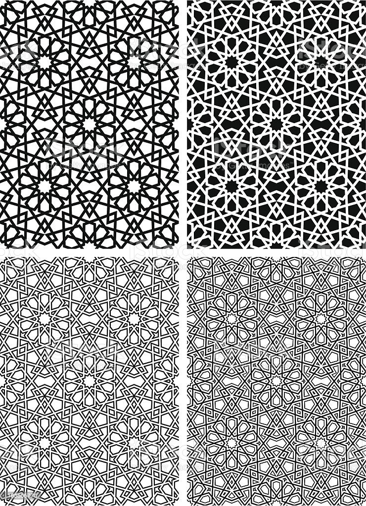 Seamless Islamic star pattern vector art illustration