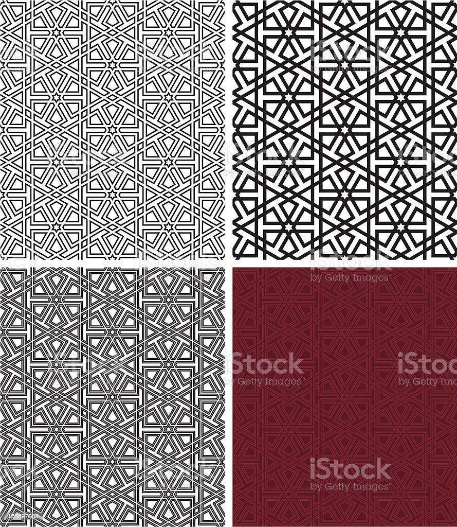 Seamless islamic wooden pattern vector art illustration