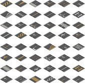 Seamless Isometric Road Construction Tiles Kit