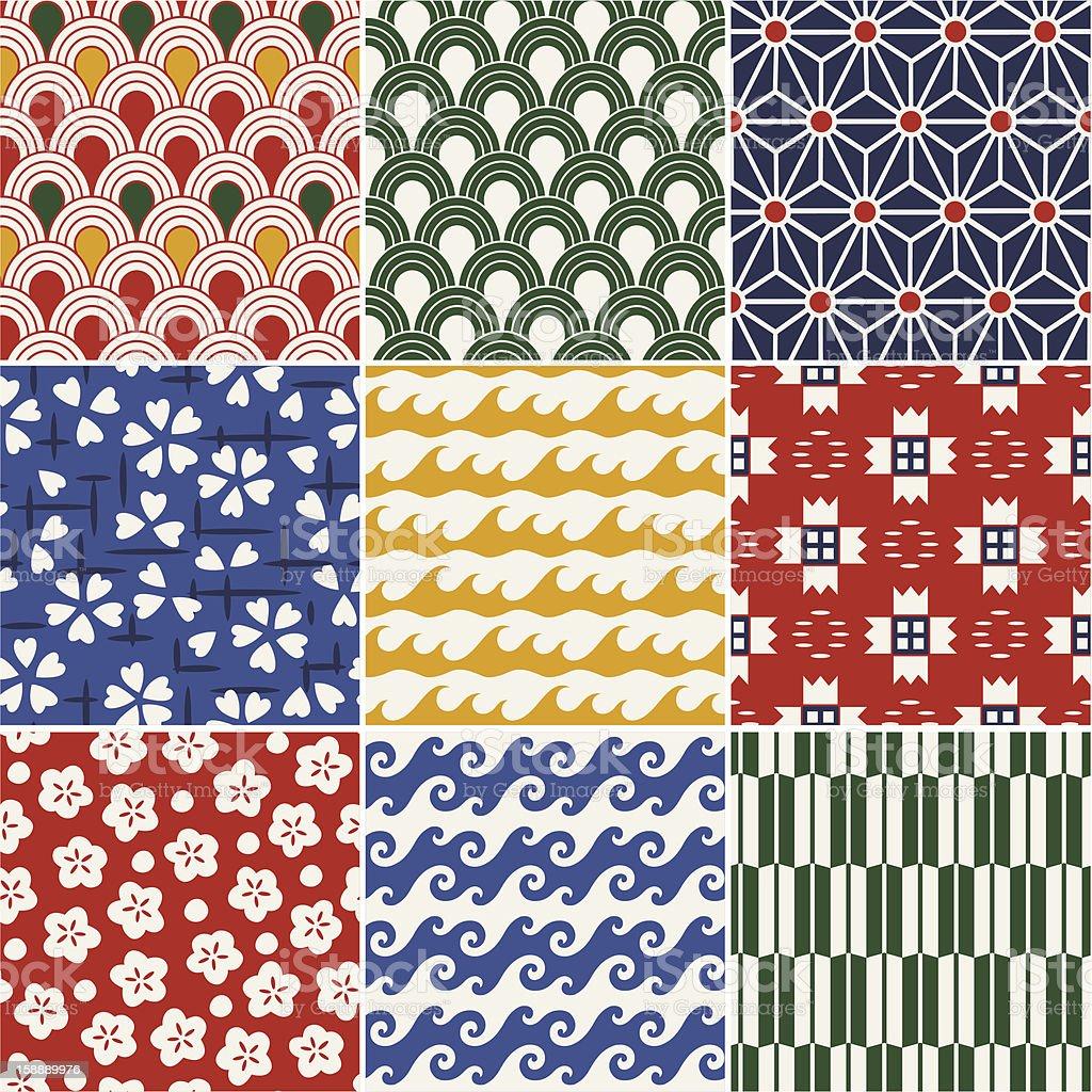 seamless japanese kimono pattern royalty-free stock vector art