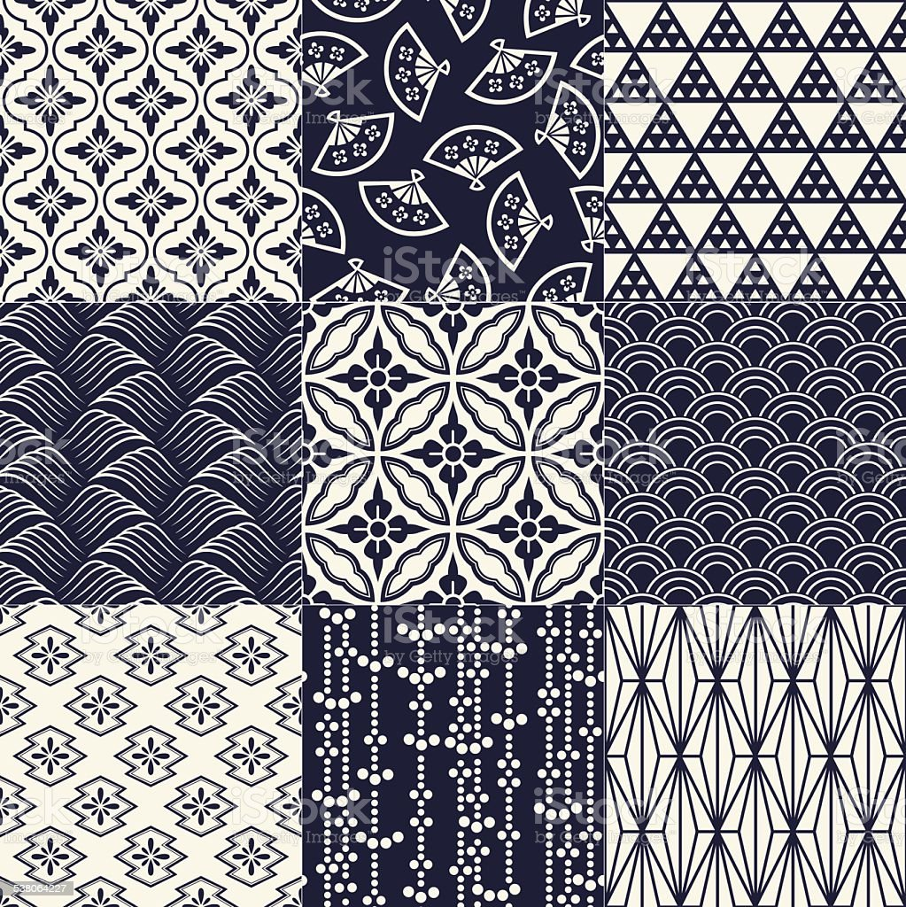 seamless japanese mesh and motif pattern vector art illustration