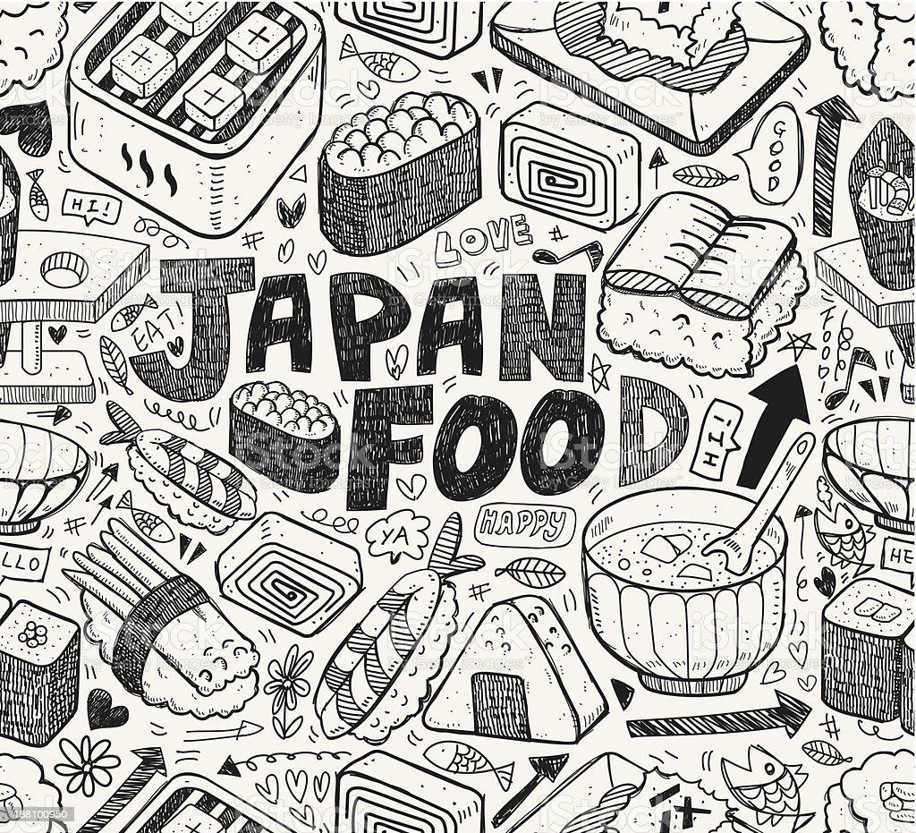seamless Japanese sushi pattern royalty-free stock vector art