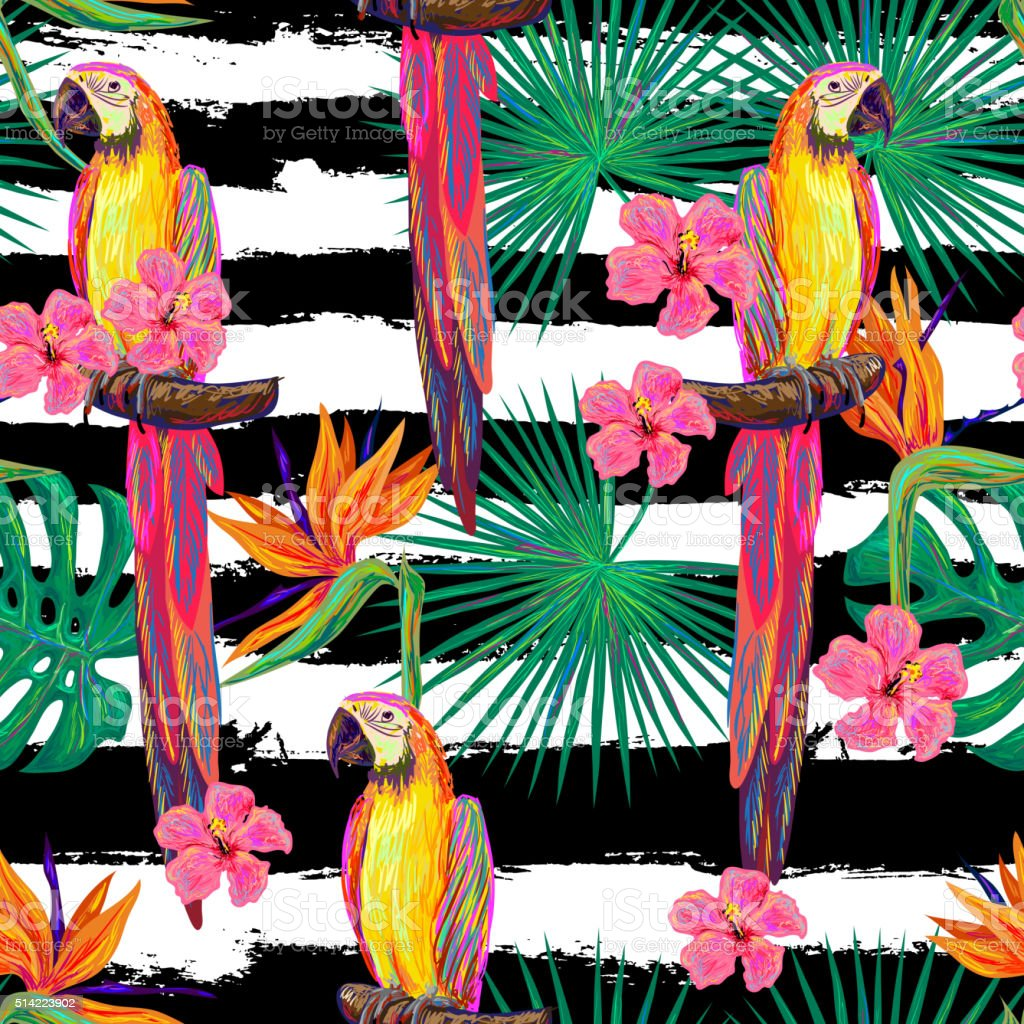 Seamless jungle pattern with parrot exotic bird vector art illustration