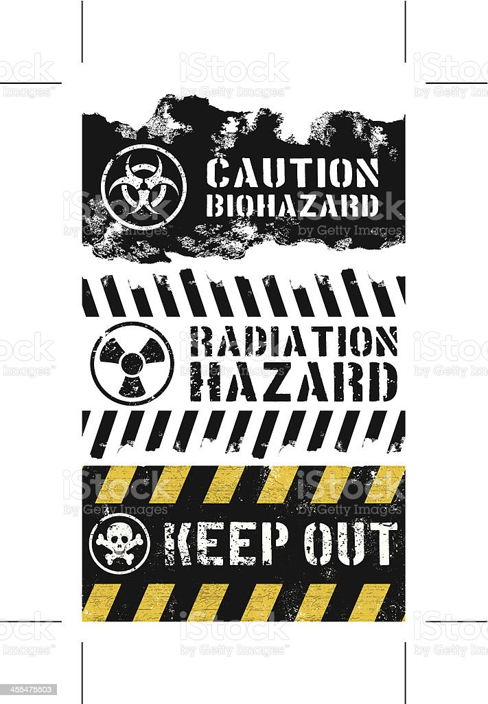 seamless keep out banners with biohazard and radiactive symbols royalty-free stock vector art