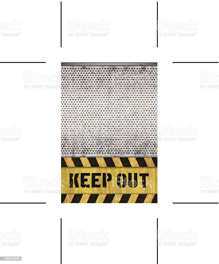 seamless keep out warning sign with metal grid vector art illustration
