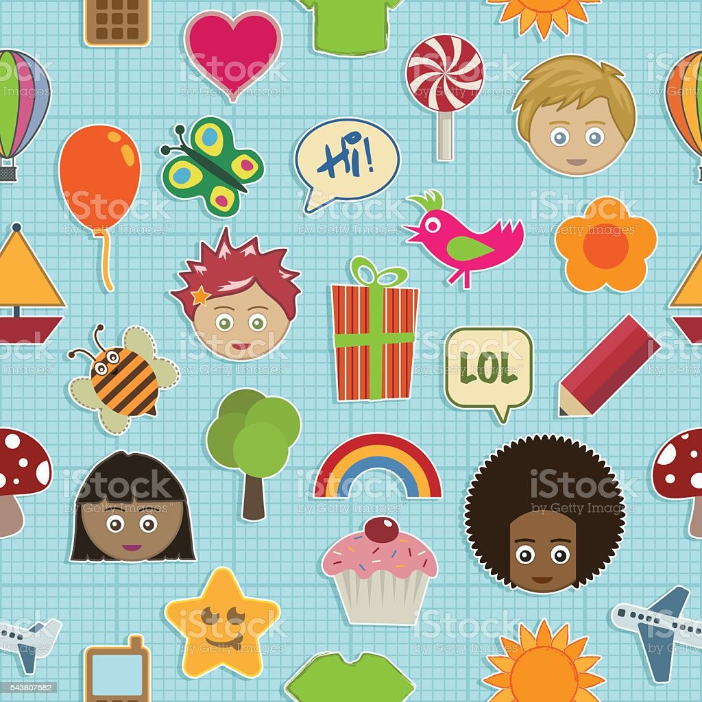 seamless kids pattern vector art illustration